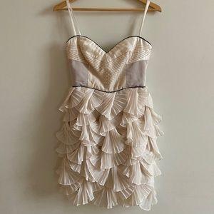 BCBG Runway Strapless Scallop Ruffle Dress
